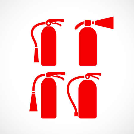 Fire extinguisher vector icon set