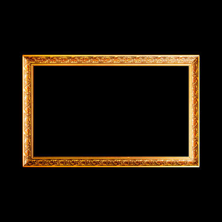 aged: Gold wide wooden frame isolated on black