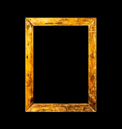 Rough rural old wooden frame isolated on black Stock Photo