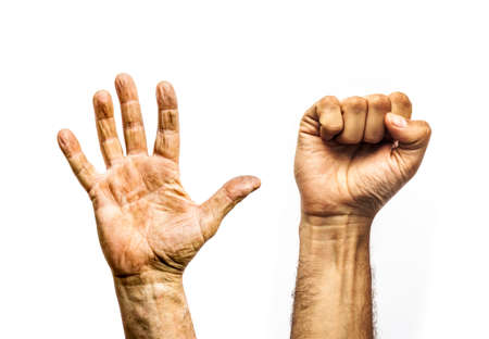 Workers dirty hands, open palm and clenched fist Standard-Bild