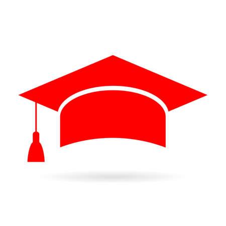Czerwona ikona czapka absolwenta akademicki Ilustracje wektorowe