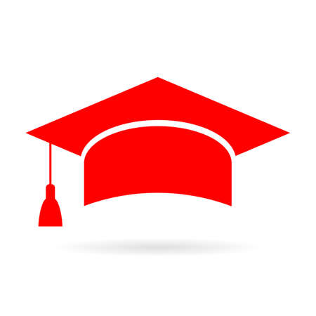 Red academic graduate cap icon