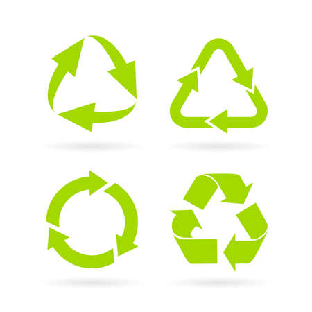 Eco green recycled symbol set