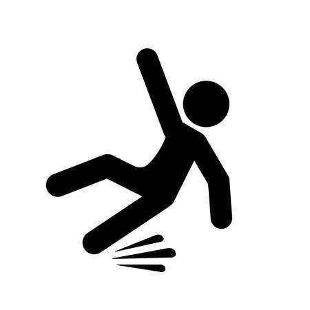hombre cayendo: Slippery camino vector pictograma Vectores