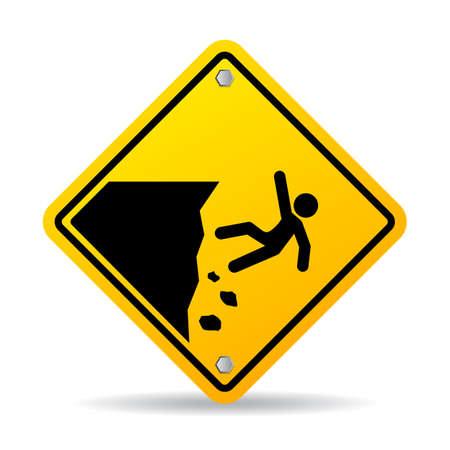 signe d'avertissement de danger de bord de falaise
