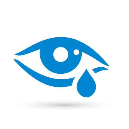 Crying woman eye tear icon