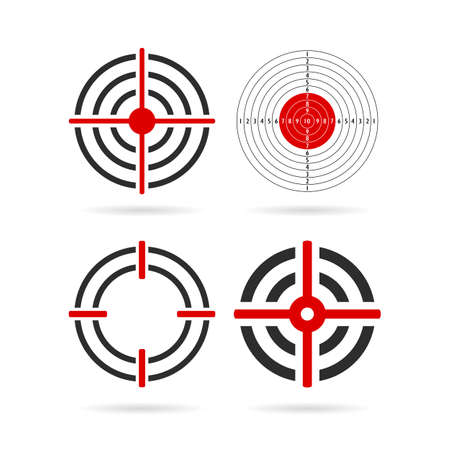 Shooting target vector icon set  イラスト・ベクター素材