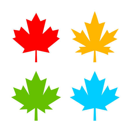 Color maple leaf vector icon