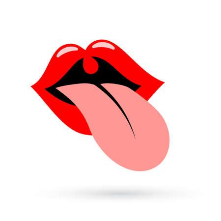 human face: Tongue mouth vector icon