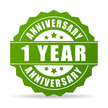 First year anniversary vector icon