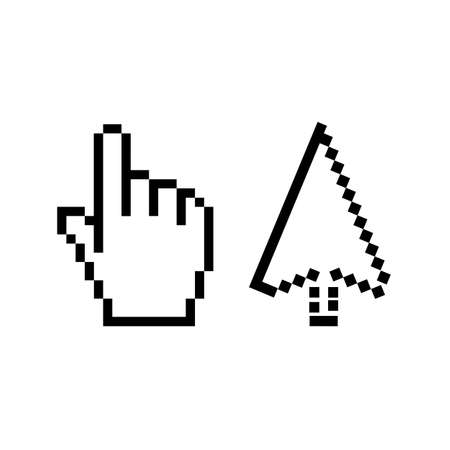 Hand and arrow cursor vector icon