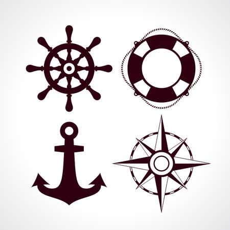 reise retro: Retro-Stil maritime Reise-Icon-Set