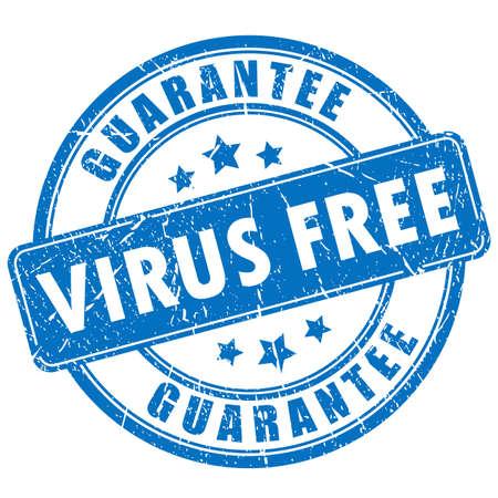 Virus free guarantee rubber stamp