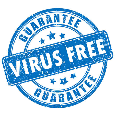 Virus free guarantee rubber stamp