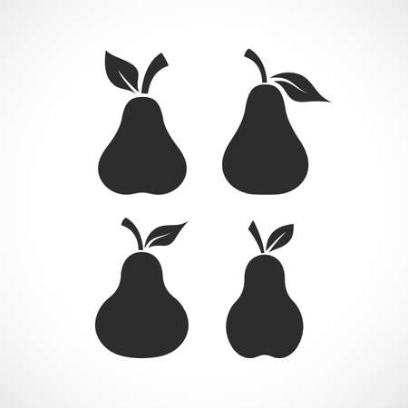 Pear vector black silhouette