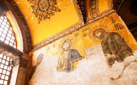 Istanbul, Turkey - June 24, 2016: Jesus Christ mosaic at Hagia Sophia