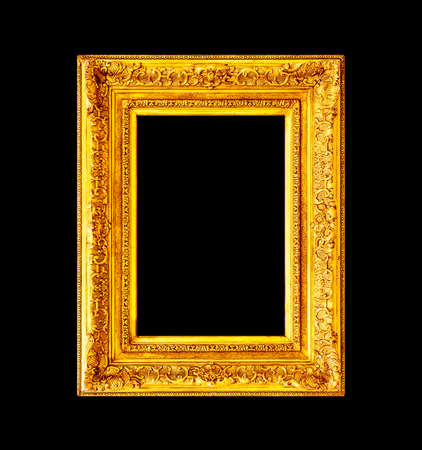 Old antique wooden frame isolated on black background