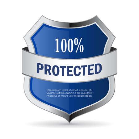 100 escudo protegida icono del vector de la seguridad