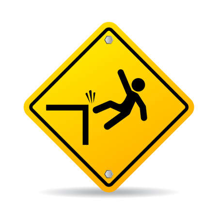 cautious: Falling danger vector sign Illustration