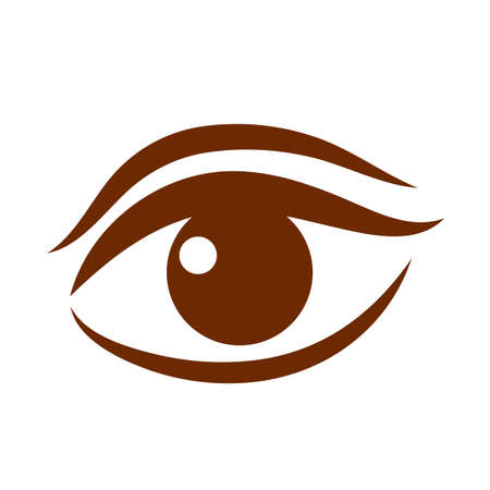 view: Beautiful brown womens eye vector icon
