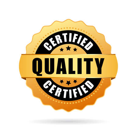 iso: Certified quality gold seal icon