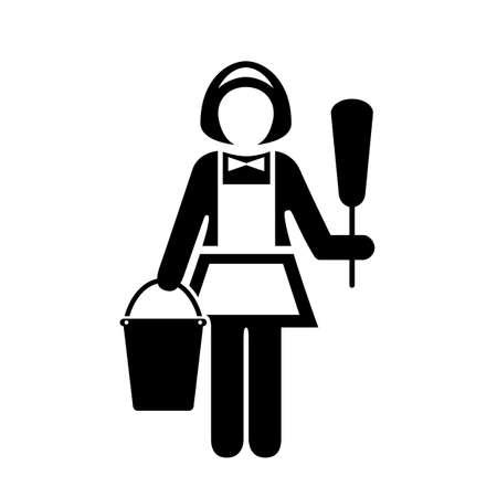 Femme de ménage avec un nettoyeur de poussière vecteur icône