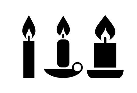 burning: Vector candle icon set