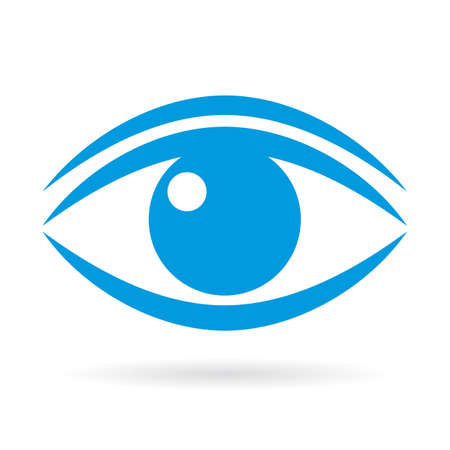 Blue eye vector icon Illustration