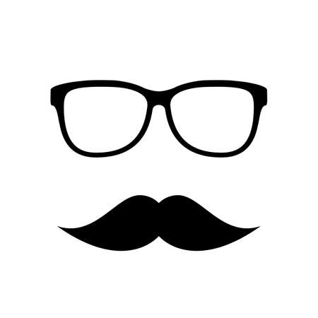 Hipster vector icon, eyeglasses and mustaches