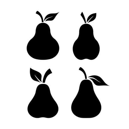 forme: fruit poire forme noir vecteur icône