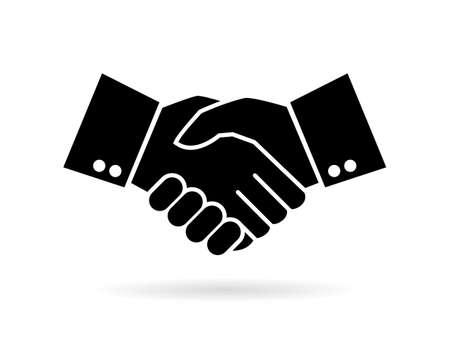 Hand shake silhouette vector icon Vectores