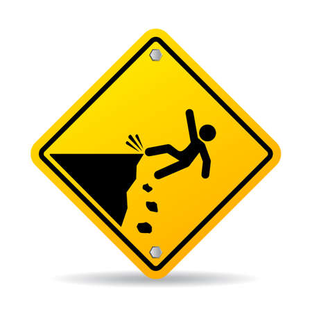 Danger cliff vector sign, stay back Illustration