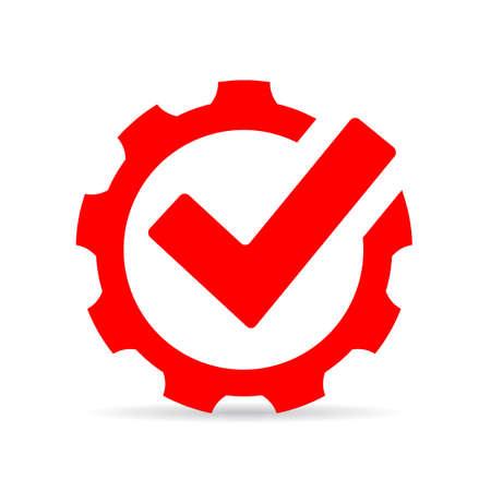 Icône de coche rouge, symbole de la technologie abstraite