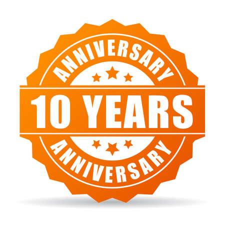 worthy: 10 years anniversary celebration vector icon