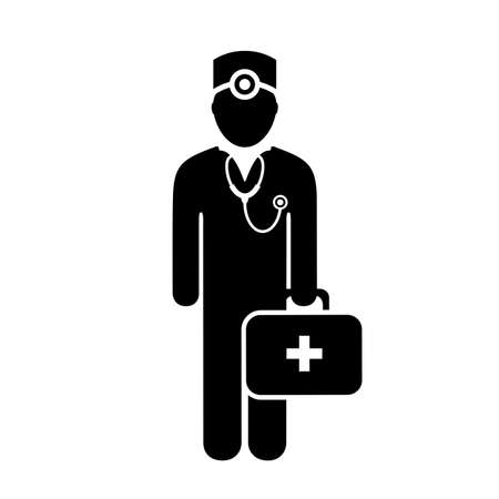 help: Doctor with medical chest vector icon