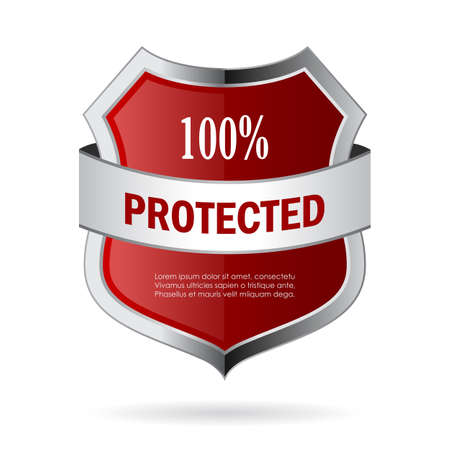 100 protected shield vector icon Illustration