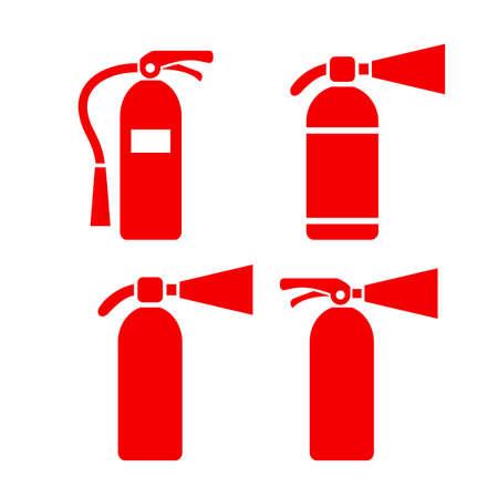 fogatas: Rojo, fuego, extintor, vector, icono, Conjunto Vectores