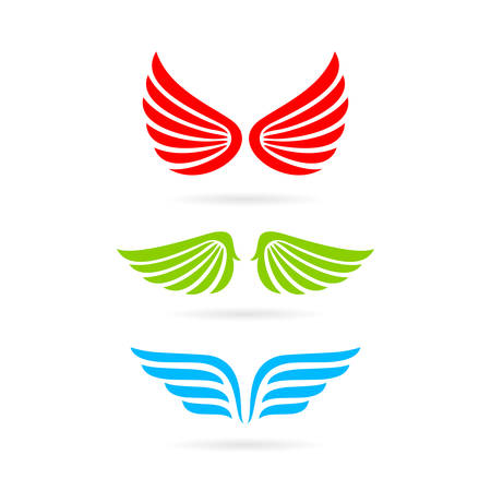Color wings vector icon Illustration