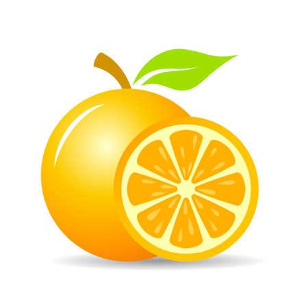 Fresh orange fruit vector icon