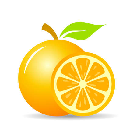 Fresh orange fruit vector icon