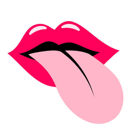 Red lisp and tongue vector icon Çizim