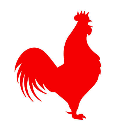 Red cock vector icon Illustration
