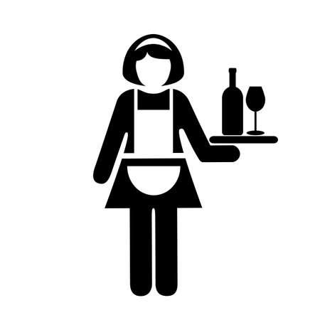 barmaid: Waitress vector icon
