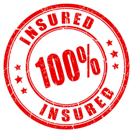 car: 100 percent fully insured stamp
