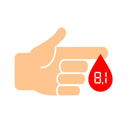 High sugar in blood, diabetes icon Illustration