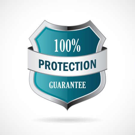 fully: Protection guarantee vector shield icon Illustration