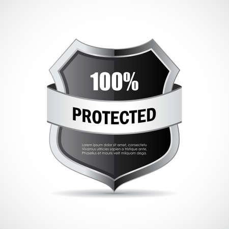 fully: Steel metal shield icon Illustration