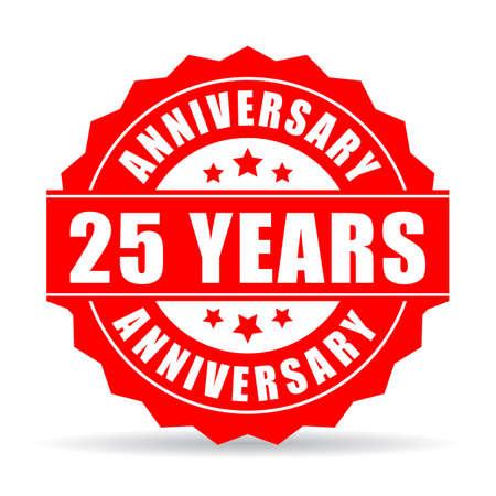 twenty fifth: 25 years anniversary celebration vector icon