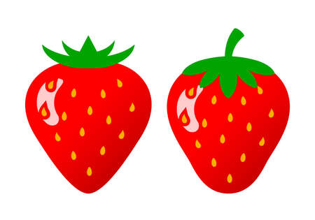 Ripe strawberry vector icon set Illustration