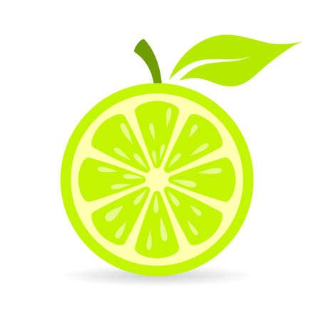 limon caricatura: Verde fresco icono del vector de la cal